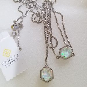 NWT WHITE KYOCERA OPAL ILLUSION Y NECKLACE SILVER